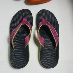 Chaco Playa Pro Web flip flops pink lime zebra